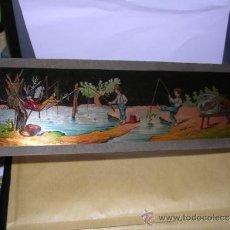 Antigüedades: PRECINE - CRISTAL DE LINTERNA MAGICA 30X9,5 CM. . Lote 36938063