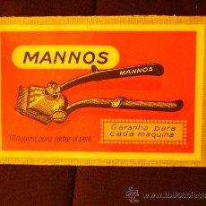 Antigüedades: MAQUINA MANUAL PARA CORTAR EL PELO - MARCA MANNOS - ESPAÑA - NUEVA Nº 0000 - 14X8 CM - DECADA 1940 ?. Lote 36951938