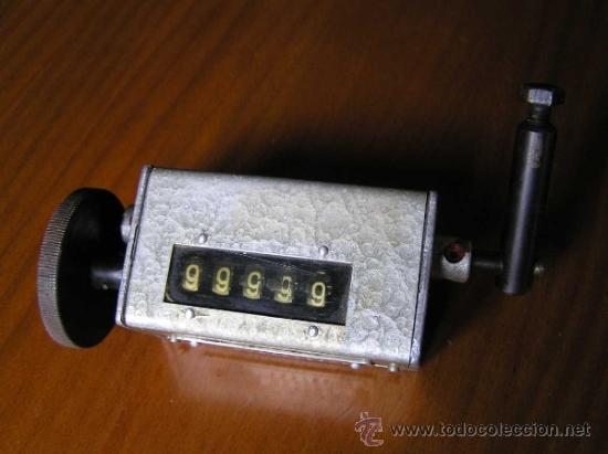 Antigüedades: ANTIGUO CONTADOR MECANICO DE 5 DIGITOS - DE METAL - NO FUNCIONA - - Foto 2 - 37000117