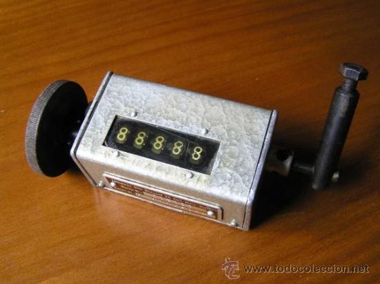 Antigüedades: ANTIGUO CONTADOR MECANICO DE 5 DIGITOS - DE METAL - NO FUNCIONA - - Foto 6 - 37000117
