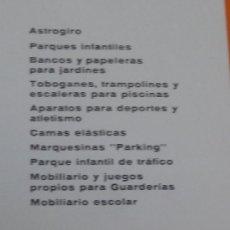 Antigüedades: CATALOGO PARQUES INFANTILES-MOBILIARIO DEPORTIVO-MEIN 1971 SABADELL. Lote 33548310