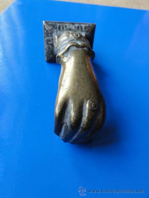 LLAMADOR MANO BRONCE (Antigüedades - Técnicas - Cerrajería y Forja - Llamadores Antiguos)