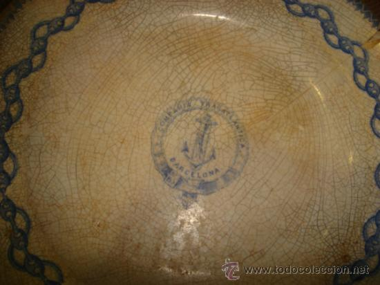 Antigüedades: COMPAÑIA TRASATLANTICA BARCELONA. PLATO SOPERO. 23 CM DIAMETRO. SELLO PICKMAN. VER FOTOS - Foto 2 - 37265093