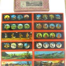 Antigüedades: 145-SERIE DE 12 PLACAS VIDRIO CON FOTOGRAMAS PARA VER CINE EN LINTERNA MÁGICA,FABRICADAS EN,ALEMANIA. Lote 37290611