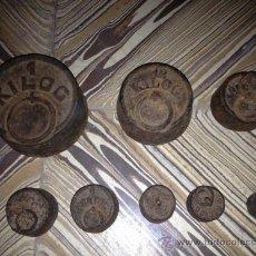 Antigüedades: 8 ANTIQUISIMAS PESAS PARA BALANZA, !!VER FOTOS!!. Lote 37372559