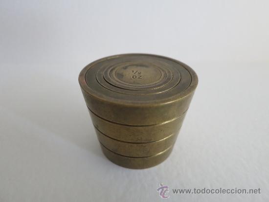 PONDERAL PILA DE VASOS ANIDADOS COMPLETA DE UNA LIBRA 6 PESAS (Antigüedades - Técnicas - Medidas de Peso - Ponderales Antiguos)