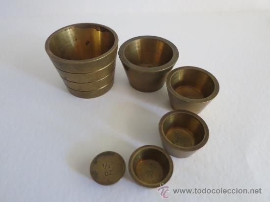 Antigüedades: ponderal pila de vasos anidados completa de una libra 6 pesas - Foto 4 - 38000693
