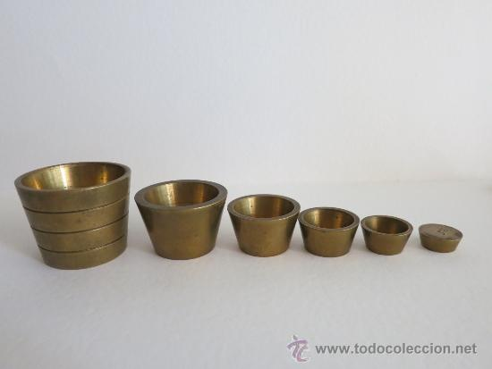 Antigüedades: ponderal pila de vasos anidados completa de una libra 6 pesas - Foto 5 - 38000693