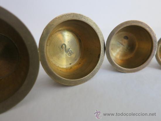 Antigüedades: ponderal pila de vasos anidados completa de una libra 6 pesas - Foto 8 - 38000693