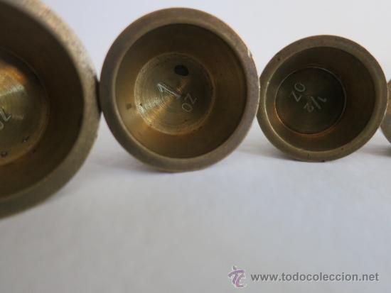 Antigüedades: ponderal pila de vasos anidados completa de una libra 6 pesas - Foto 9 - 38000693