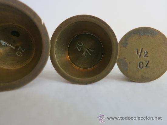 Antigüedades: ponderal pila de vasos anidados completa de una libra 6 pesas - Foto 10 - 38000693