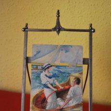 Antigüedades: ATRIL DE METAL - CABALLETE DE SOBREMESA - PLEGABLE - CIRCA 1900. Lote 38212706
