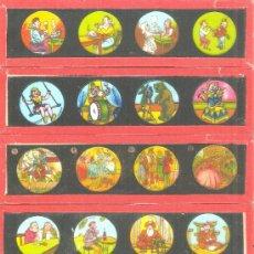 Antigüedades: 820--SERIE 6 PLACAS CON FOTOGRAMAS PARA VER CINE EN LINTERNA MÁGICA,FABRICADAS EN,ALEMANIA. Lote 38284142