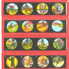 Antigüedades: 840--SERIE 6 PLACAS CON FOTOGRAMAS PARA VER CINE EN LINTERNA MÁGICA,FABRICADAS EN,ALEMANIA . Lote 38284162