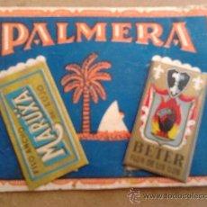 Antigüedades: CUCHILLAS DE AFEITAR, PEGADAS A CARTON DE PUBLICIDAD DE PALMERA. Lote 38415363