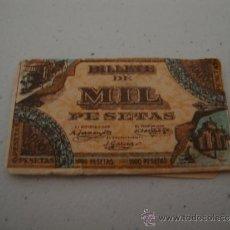 Antigüedades: CURIOSA Y ANTIGUA HOJA DE AFEITAR COMPLETA BILLETE DE MIL PESETAS, EN .. Lote 38632764