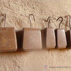 Antigüedades: LOTE 5 DE PESAS HIERRO MUY ANTIGUAS Y RARAS.. Lote 38774381