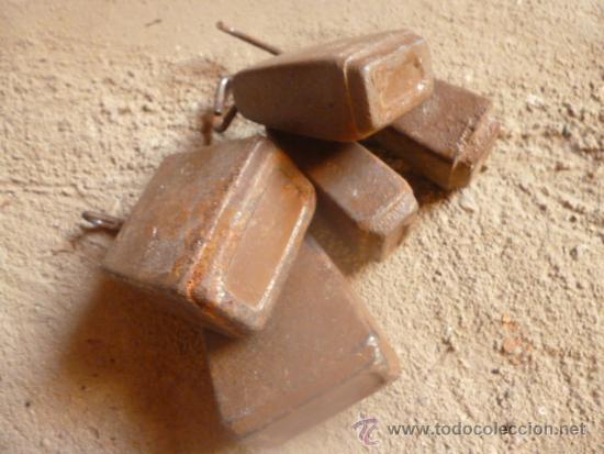 Antigüedades: lote 5 de pesas hierro muy antiguas y raras. - Foto 3 - 38774381