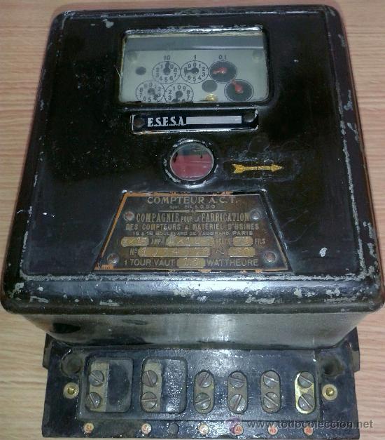 ANTIGUO CONTADOR DE LA LUZ AÑOS 60 (Antigüedades - Técnicas - Herramientas Profesionales - Electricidad)