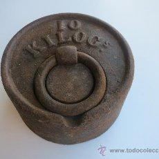 Antigüedades: PESA DE 10 KILOS CON MARCA DE FABRICA BOLUETA -BILBAO. Lote 38998659