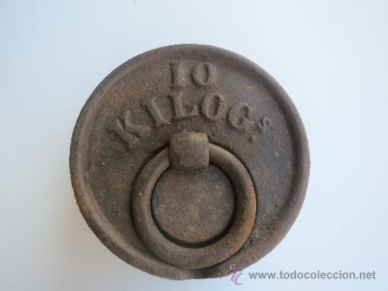 Antigüedades: pesa de 10 kilos con marca de fabrica BOLUETA -BILBAO - Foto 2 - 38998659