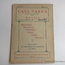 Antigüedades: CATALOGO DE BASCULAS, BALANZAS, PESAS Y MEDIDAS DE CASA PARRA DE 1926. Lote 39051617