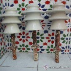 Antigüedades: AISLADORES DE PORCELANA, TRES. Lote 39280608