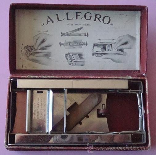 PEQUEÑA MÁQUINA PARA AFILAR HOJAS DE AFEITAR - AFILADOR ALLEGRO (Antigüedades - Técnicas - Barbería - Varios Barbería Antiguas)