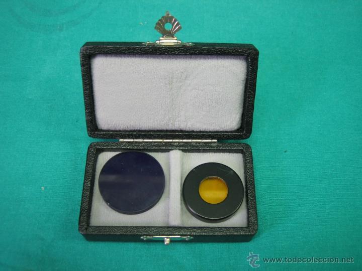 FILTROS PARA MICROSCOPIO. FLUORESZENZ FILTRE B. WILD HEERBRUGG (Antigüedades - Técnicas - Instrumentos Ópticos - Microscopios Antiguos)