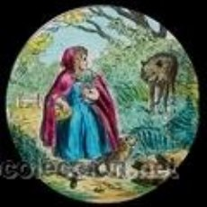 Antigüedades: CAPERUCITA ROJA (LINTERNA MÁGICA). 6 PLACAS DE CRISTAL, CUENTO COMPLETO. Lote 39648896