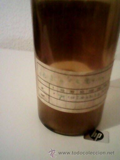 Antigüedades: ANTIGUA BOTELLA DE FARMACIA VIDRIO MARRÓN .TH.MUHLETHALER S.A..AÑO 1964.NYON SUISSE. - Foto 9 - 39708308