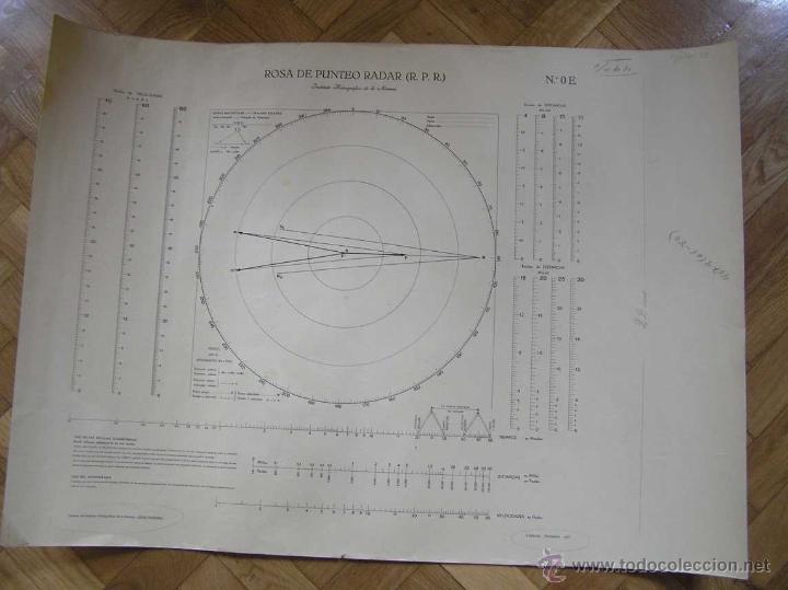 NOMOGRAMA ROSA DE PUNTEO RADAR (R. P. R.) INSTITUTO HIDROGRÁFICO DE LA MARINA Nº. OE (Antigüedades - Técnicas - Aparatos de Cálculo - Reglas de Cálculo Antiguas)