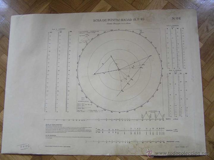 Antigüedades: NOMOGRAMA ROSA DE PUNTEO RADAR (R. P. R.) Instituto Hidrográfico de la Marina Nº. OE - Foto 3 - 39756541