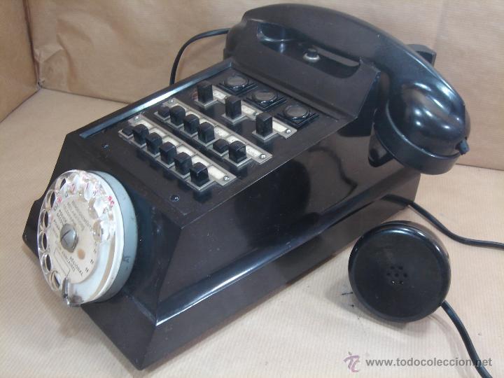 IMPRESIONANTE TELEFONO BAQUELITA- ERICSSON MODELO COCODRILO PTT 1950 -CENTRALITA Y AURICULAR EXTRA (Antigüedades - Técnicas - Teléfonos Antiguos)