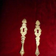 Antigüedades: ANTIGUOS TIRADORES CON BOCALLAVE EN BRONCE. Lote 39927846