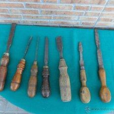 Antigüedades: 7 FORMONES DE CARPINTERIA ANTIGUA. Lote 39938773