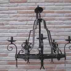 Antigüedades: GRAN LAMPARA METALICA EN HIERRO FORJADO. ELECTRIFICADA.. Lote 40068254