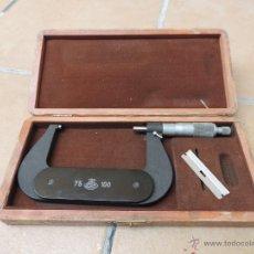 Antigüedades - Micrometro - Calibre Precisión Exteriores 75-100 mm Etalon (Suizo) , Con Estuche Original de Madera - 40130371