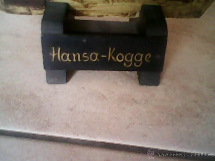 Antigüedades: ANTIGUO BARCO DE PIRATA,DE MADERA,Y PINTADO A MANO, TELA IMITANDO LA PIEL.ESTA ASINADO .Hansa-Kogge - Foto 5 - 40092897