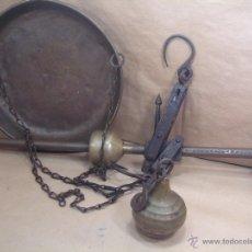 Antigüedades: BONITA ROMANA DE PLATO - HIERRO Y LATON KEKUATAN - DOBLE PILON - 60 CMS - PESO BASCULA. Lote 40196027