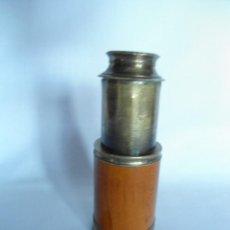 Antigüedades: ANTIGUO Y PEQUEÑO CATALEJO DE METAL Y CAOBA RUBIA. Lote 40324633