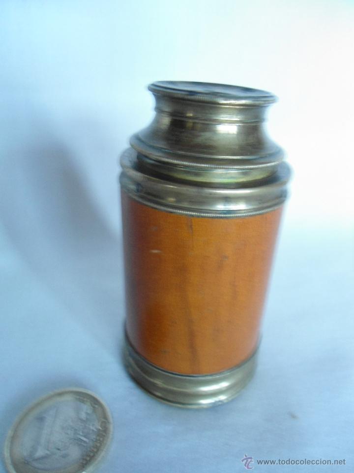 Antigüedades: ANTIGUO Y PEQUEÑO CATALEJO DE METAL Y CAOBA RUBIA - Foto 2 - 40324633