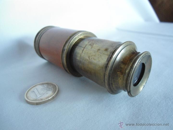 Antigüedades: ANTIGUO Y PEQUEÑO CATALEJO DE METAL Y CAOBA RUBIA - Foto 3 - 40324633