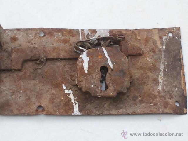 Antigüedades: ANTIGUA CERRADURA GRANDE SIN LLAVE - Foto 3 - 40632525