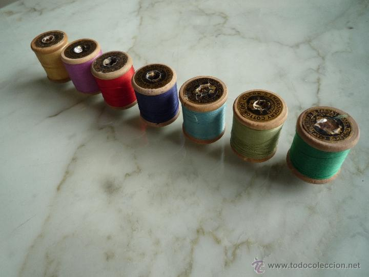 Antigüedades: 7 antiguos carretes bobinas madera. Hilo para bordar. Diferentes colores *FABRA Y COATS* Barna - Foto 4 - 40647576