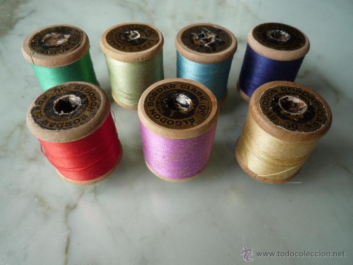 Antigüedades: 7 antiguos carretes bobinas madera. Hilo para bordar. Diferentes colores *FABRA Y COATS* Barna - Foto 5 - 40647576