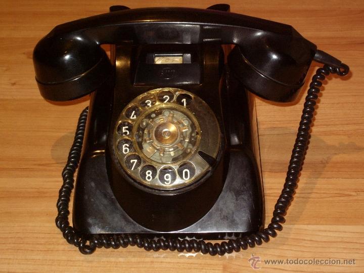 ANTIGUO TELEFONO ORIGINAL BAQUELITA NEGRA DE SOBREMESA.ANTIGUO MARCADO Y MARCA -PTT-. (Antigüedades - Técnicas - Teléfonos Antiguos)