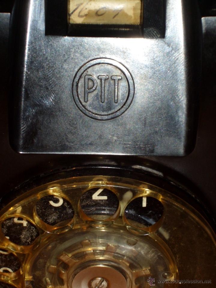 Teléfonos: ANTIGUO TELEFONO ORIGINAL BAQUELITA NEGRA DE SOBREMESA.ANTIGUO MARCADO Y MARCA -PTT-. - Foto 9 - 38333120