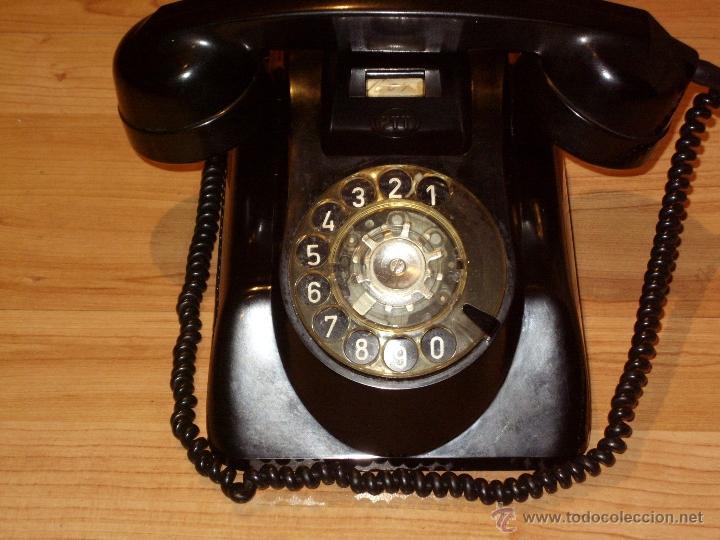 Teléfonos: ANTIGUO TELEFONO ORIGINAL BAQUELITA NEGRA DE SOBREMESA.ANTIGUO MARCADO Y MARCA -PTT-. - Foto 10 - 38333120