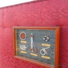 Antigüedades: CUADRO CON PIEZAS DE DECORACION NAUTICA. Lote 40787331